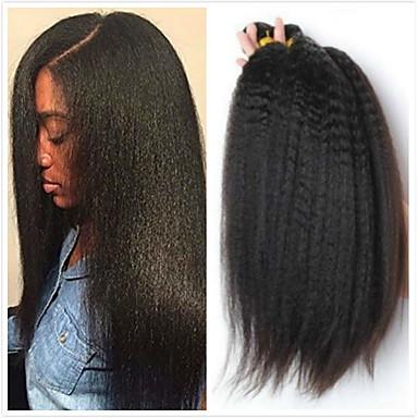 povoljno Ekstenzije od ljudske kose-4 paketića Brazilska kosa Kinky Ravno Virgin kosa Ljudske kose plete Bundle kose Jedan Pack Solution 8-28inch Prirodna boja Isprepliće ljudske kose Sladak Sigurnost Modni dizajn Proširenja ljudske
