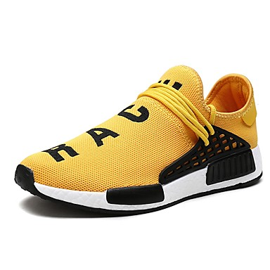 cheap Sports Shoes for Summer-Men's Light Soles Canvas / Mesh Spring & Summer Sporty / Casual Athletic Shoes Running Shoes / Walking Shoes Breathable Black / Yellow / Red / Non-slipping / Shock Absorbing / Wear Proof