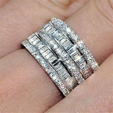 cheap Rings-Women's Ring Eternity Band Ring spinning ring Cubic Zirconia 1pc Silver Brass Round Fashion Iced Out Wedding Party Jewelry Classic Lovely