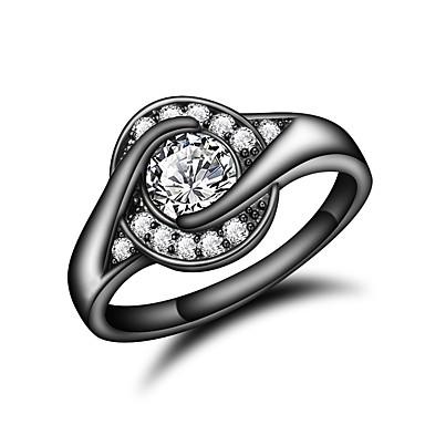 preiswerte Ringe Silber-Damen Ring Kubikzirkonia 1pc Goldenschwarz 18 karat vergoldet Diamantimitate Stilvoll Luxus Romantisch Party Verlobung Schmuck Klassisch Cool lieblich