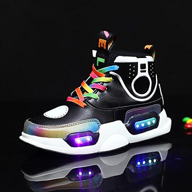 preiswerte Schuhe für Kinder-Jungen / Mädchen Leuchtende LED-Schuhe Spitze / Mikrofaser Sneakers Kleinkind (9m-4ys) / Kleine Kinder (4-7 Jahre) / Große Kinder (ab 7 Jahren) Walking LED Schwarz / Purpur Frühling / Herbst / Gummi