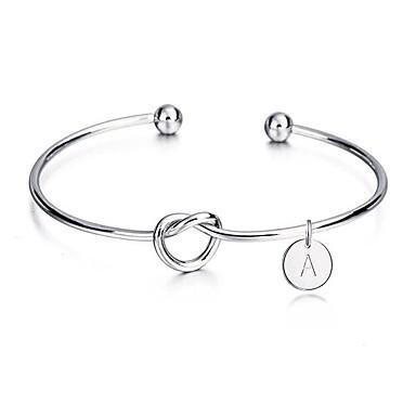 levne Dámské šperky-Dámské Široké náramky Náramek Geometrické Proplétané Písmeno Twist Circle Uzel Jednoduchý Geometrik Evropský Casual / Sportovní Módní Slitina Náramek šperky Stříbrná Pro Svatební Narozeniny Dar