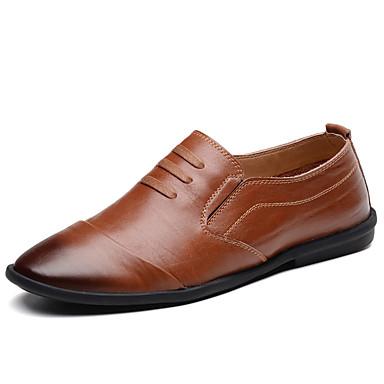 Homens Sapatos Confortáveis Couro Ecológico Primavera Verão Negócio / Casual Mocassins e Slip-Ons Respirável Preto / Marron / Khaki / Escritório e Carreira
