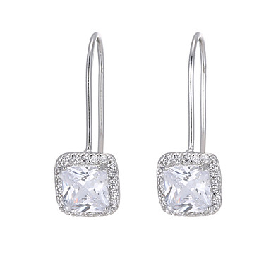 3c0a29f38b3452 Women's Drop Earrings Princess Square Simple European Fashion Earrings  Jewelry Silver For Wedding Party 1 Pair 7167654 2019 – $10.49