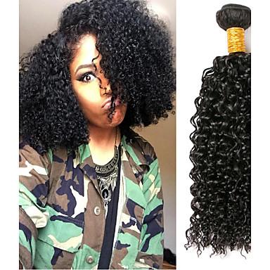 povoljno Ekstenzije od ljudske kose-3 paketa Brazilska kosa Kinky Curly Virgin kosa Ljudske kose plete Bundle kose Jedan Pack Solution 8-28 inch Prirodna boja Isprepliće ljudske kose Nježno Cool Gust Proširenja ljudske kose
