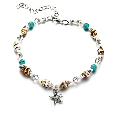 cheap Designer Jewelry-Ankle Bracelet Casual / Sporty Ethnic Fashion Women's Body Jewelry For Carnival Holiday Tropical Acrylic Shell Alloy Starfish Shell Turquoise 1pc