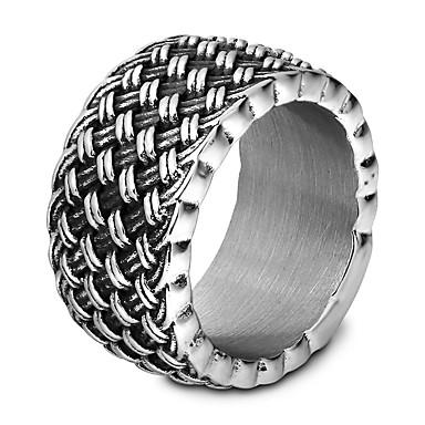 levne Pánské šperky-Pánské Prsten Zásnubní prsten 1ks Stříbrná Titanová ocel Volframová ocel Kulatý Punk Hip-hop počáteční šperky Zásnuby Dar Šperky Přes rameno Vertikálně Půvab