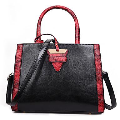 Žene Patent-zatvarač PU Tote torbica Color block Crn / Braon / Sive boje / Jesen zima