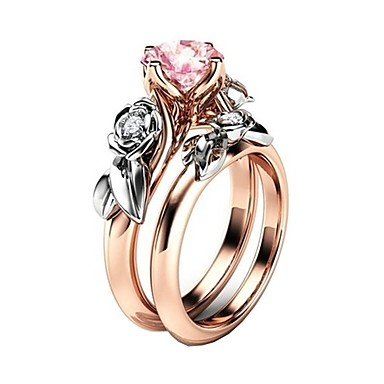 levne Dámské šperky-Dámské Prsten Kubický zirkon 2pcs Růžová Slitina Dar Denní Šperky Kytky Půvab