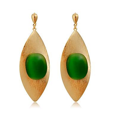 povoljno Modne naušnice-Žene Zelen Sintetički Emerald Viseće naušnice Stilski Stil višenja pomodan Pozlaćeni Naušnice Jewelry Zlato Za Svečanost Večer stranka Formalan 2pcs