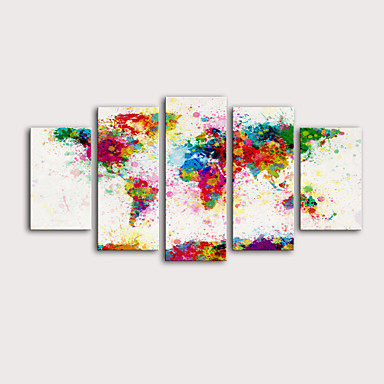 cheap Wall Art-Print Rolled Canvas Prints Stretched Canvas Prints - Abstract Maps Modern Five Panels Art Prints