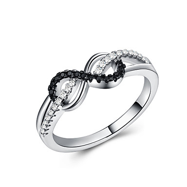 billige Motering-Dame Band Ring Kubisk Zirkonium 1pc Hvit Kobber Platin Belagt Geometrisk Form Stilfull Europeisk Romantikk Bryllup Gave Smykker Klassisk Bokstaver Kul