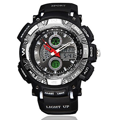 levne Pánské-OHSEN Pánské Digitální hodinky Digitální Silikon Černá 50 m Voděodolné Kalendář Analog - Digitál Na běžné nošení Módní - Oranžová Červená Modrá