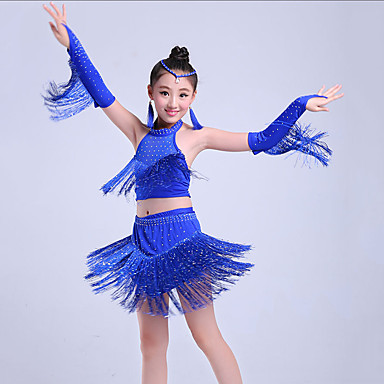 183a5d4a1 Latin Dance / Kids' Dancewear Outfits Girls' Training / Performance Nylon /  Elastic Tassel / Tiered / Crystals / Rhinestones Sleeveless Skirts / Top ...