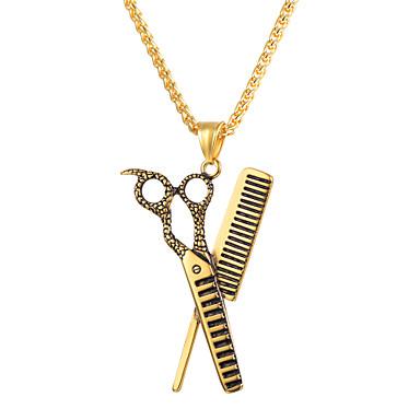 levne Dámské šperky-Pánské Náhrdelníky s přívěšky Nůžky Prohlášení Módní Titanová ocel Nerezové Zlatá Černá Stříbrná 55 cm Náhrdelníky Šperky 1ks Pro Narozeniny Dar Denní Street