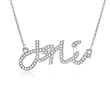 b4905e279ea Women's Cubic Zirconia Monogram Pendant Necklace Imitation Diamond Letter  Fashion Modern Initial Cool Silver 45+5 cm Necklace Jewelry 1pc For Daily  Holiday ...