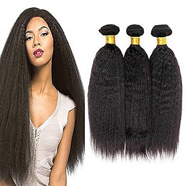 povoljno Ekstenzije od ljudske kose-6 paketića Brazilska kosa Kinky Ravno Remy kosa Ljudske kose plete Bundle kose Jedan Pack Solution 8-28inch Prirodna boja Isprepliće ljudske kose Waterfall Sladak Sigurnost Proširenja ljudske kose