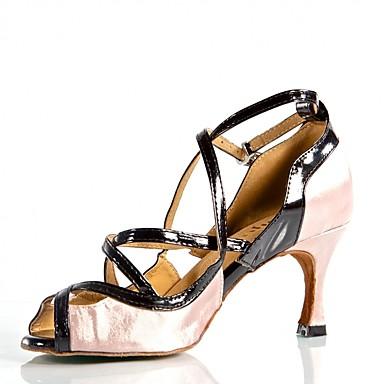 fb75471ef7bb Žene Cipele za latino plesove Saten   PU Sandale   Štikle Kopča    Isprepleteni dijelovi Tanka visoka peta Moguće personalizirati Plesne cipele  Pink iz ...