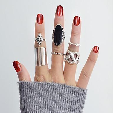 billige Motering-Dame Ring Set Midiringe Stable Ringer 6pcs Sølv Emalje Legering Annerledes Stilfull Punk Daglig Stevnemøte Smykker geometriske Kul