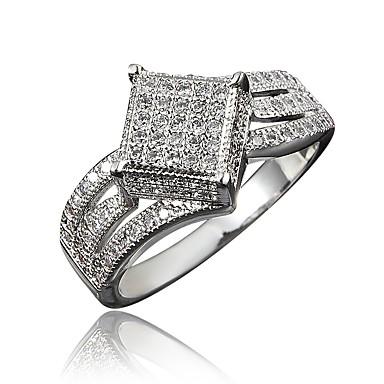 billige Motering-Dame Ring Kubisk Zirkonium 1pc Gull Sølv 18K Gullbelagt Fuskediamant Kvadrat Stilfull Luksus Romantikk Fest Engasjement Smykker Klassisk Smuk