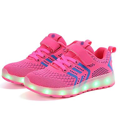preiswerte Schuhe für Kinder-Mädchen Leuchtende LED-Schuhe Gestrickt Sportschuhe Kleinkind (9m-4ys) / Kleine Kinder (4-7 Jahre) / Große Kinder (ab 7 Jahren) Walking Schnalle / LED Blau / Rosa / Schwarz / Rot Frühling / Herbst