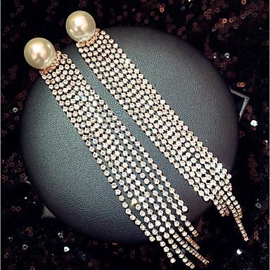 preiswerte Lange Ohrringe-Damen Tropfen-Ohrringe Lang Erklärung Diamantimitate Ohrringe Schmuck Gold Für Hochzeit Verlobung Party Klub Bar 1 Paar