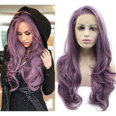 cheap Synthetic Lace Wigs-Synthetic Lace Front Wig Natural Wave Style Side Part Lace Front Wig Long Purple Synthetic Hair 22-24 inch Women's Heat Resistant Natural Hairline Purple Wig Sylvia