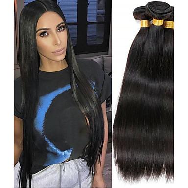 povoljno Ekstenzije od ljudske kose-4 paketića Brazilska kosa Prirodno ravno Remy kosa Ljudske kose plete Produžetak Bundle kose 8-28inch Prirodna boja Isprepliće ljudske kose Ples Svilenkast Moda Proširenja ljudske kose / neprerađenih