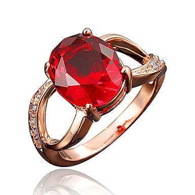 b1bf5f95d54435 Women's Clear Cubic Zirconia Classic Ring Engagement Ring 18K Gold Plated  Imitation Diamond Stylish Luxury Romantic Fashion Elegant Ring Jewelry Red  / Blue ...