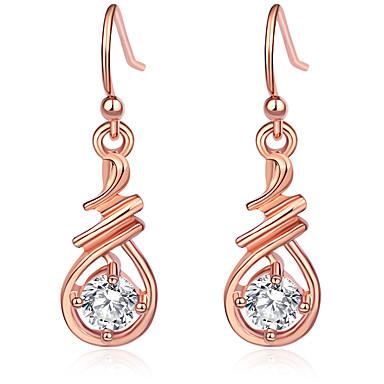 povoljno Modne naušnice-Žene Kubični Zirconia Viseće naušnice Kruška Moderna Elegantno Uglađeni Naušnice Jewelry Pink / Rose Gold Za Dar Festival 1 par