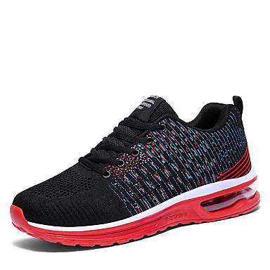 สำหรับผู้ชาย รองเท้าสบาย ๆ ตารางไขว้ ฤดูร้อนฤดูใบไม้ผลิ Sporty / ไม่เป็นทางการ รองเท้ากีฬา สำหรับวิ่ง ระบายอากาศ สีดำ / แดง / ฟ้า / ไม่ลื่นไถล / สวมหลักฐาน