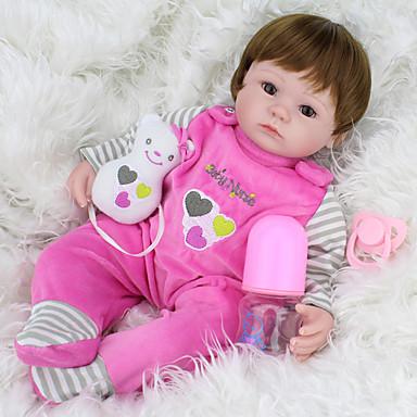 NPKCOLLECTION NPK DOLL Κούκλες σαν αληθινές Κορίτσι κορίτσι Μωρά Κορίτσια 18 inch Σιλικόνη Βινύλιο - Νεογέννητος όμοιος με ζωντανό Χαριτωμένο Χειροποίητο Ασφαλής για παιδιά Νεό Σχέδιο Παιδικά / CE