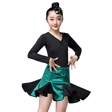 be6090bd9532 Latin Dance / Kids' Dancewear Outfits Girls' Training / Performance Spandex  Lace / Cascading Ruffles Long Sleeve Skirts / Leotard / Onesie 7210741 2019  – ...