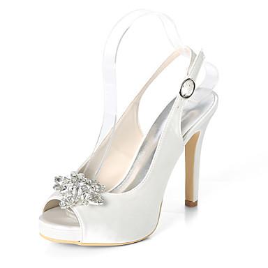 preiswerte Neu Eingetroffen-Damen Satin Frühling Sommer Minimalismus Hochzeit Schuhe Stöckelabsatz Peep Toe Strass Dunkellila / Champagner / Elfenbein / Party & Festivität