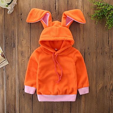 preiswerte Kapuzenpullover & Sweatshirts für Babys-Baby Mädchen Aktiv / Grundlegend Solide Langarm Baumwolle Kapuzenpullover Orange