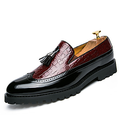 cheap Men's Slip-ons & Loafers-Men's Bullock Shoes Leather Spring & Summer / Fall & Winter British Loafers & Slip-Ons Black / White / Red / Tassel / Party & Evening