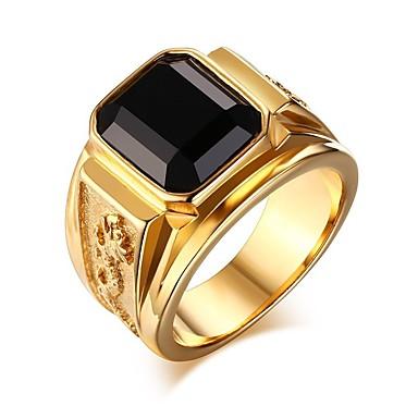 tanie Pierścionki męskie-Męskie Pierścień Sygnet Ring Kamień szlachetny 1 szt. Srebrno-czerwony Złoto-czerwony Złoto-zielony Powlekany złotem 24K Moda miejska Hip hop Prezent Codzienny Biżuteria Moda Vintage