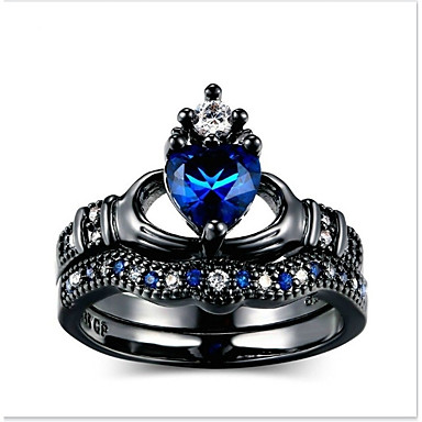 levne Pánské šperky-Pánské Dámské Prsten Zásnubní prsten 2pcs Tmavomodrá Slitina Kulatý Denní Obřad Šperky Heart