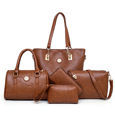 cheap Bag Sets-Women's Bags PU Leather Bag Set 5 Pieces Purse Set Zipper Solid Color for Daily / Office & Career Black / Blue / Red / Blushing Pink / Bag Sets / Fall & Winter