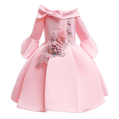 cheap Baby & Kids-Kids Toddler Girls' Vintage Sweet Solid Colored Half Sleeve Knee-length Dress Blushing Pink