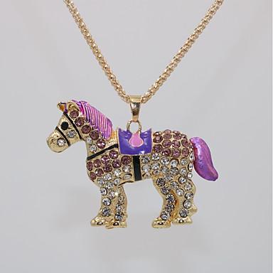 povoljno Modne ogrlice-Žene Ogrlice s privjeskom Izjava Ogrlice Ogrlica Klasičan Konj Sa životinjama Jedinstven dizajn Klasik Moda Moderna Pozlaćeni Krom Plava Pink Svijetlo zelena 70 cm Ogrlice Jewelry 1pc Za Karneval