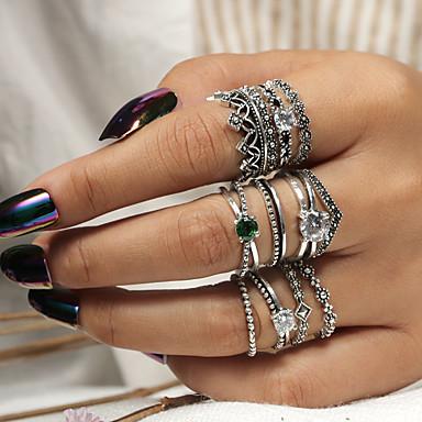 billige Motering-Dame Ring Ring Set Midiringe 12pcs Sølv Akryl Legering Rund trendy Mote Bohem Fest Daglig Smykker Klassisk Krone Heldig