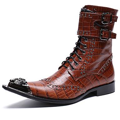 levne Shoes Trends-Pánské Fashion Boots Nappa Leather Zima Na běžné nošení / Bristké Boty Zahřívací Do půli lýtek Černá / Hnědá / Party / Nýty / Party / Obuv military styl