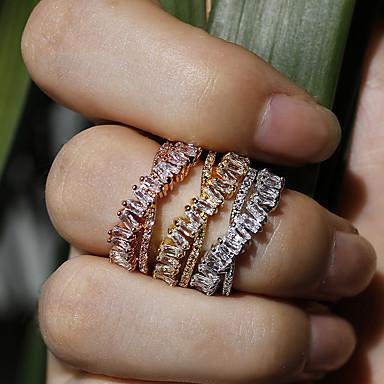 voordelige Dames Sieraden-Dames Open Ring Zirkonia 1pc Goud Zilver Roos Koper Europees Zoet Feest Verloving Sieraden X-ring