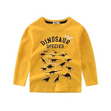 povoljno Odjeća za dječake-Djeca Dječaci Osnovni Dinosaur Prugasti uzorak Print Dugih rukava Pamuk Bluza Obala