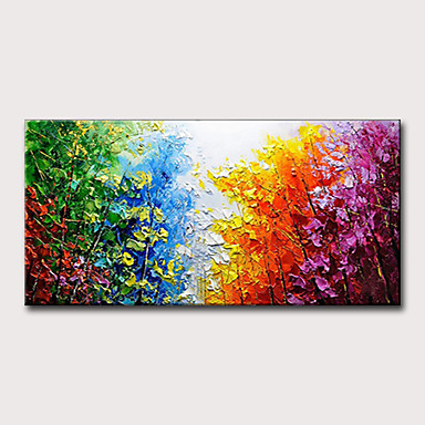 cheap Oil Paintings-Oil Painting Hand Painted - Abstract Landscape Classic Modern Rolled Canvas