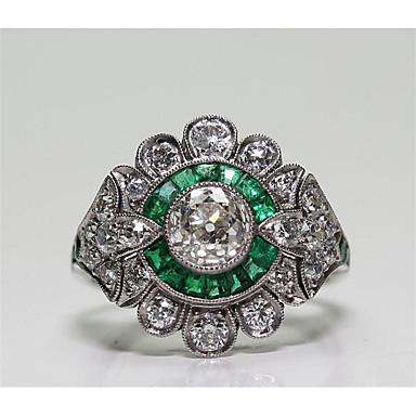 preiswerte Ringe Silber-Damen Ring Kubikzirkonia 1pc Grün Messing Geometrische Form Modisch Party Alltag Schmuck Klassisch Blume Cool