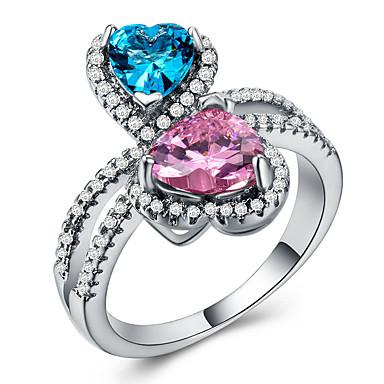 billige Motering-Dame Statement Ring Ring Kubisk Zirkonium 1pc Hvit Kobber Geometrisk Form Statement Stilfull Luksus Bryllup Fest Smykker Hjerte Søtt