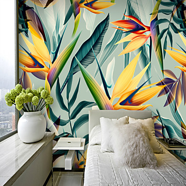 cheap Wall Art-Colorful Tropical Leaf Wallpaper Mural Canvas Wall Covering