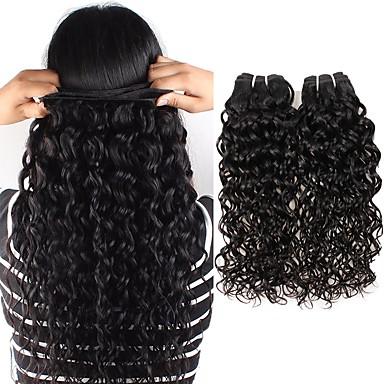 povoljno Ekstenzije od ljudske kose-6 paketića Indijska kosa Water Wave Remy kosa Ljudske kose plete Bundle kose Jedan Pack Solution 8-28 inch Prirodna boja Isprepliće ljudske kose Jednostavan dressing Moda Gust Proširenja ljudske kose